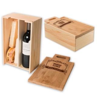 RACKPACK - gaveæske til vin og ost med indgravering